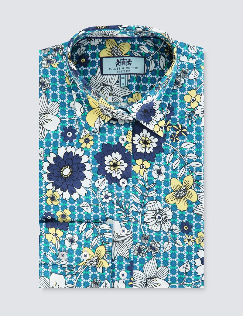 Women's Blue & Yellow Floral Print Fitted Shirt - Single Cuff