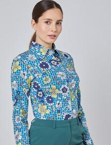 Bluse – Slim Fit – Baumwollstretch – blau-gelb Siebziger Muster-Mix