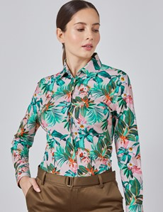 Women's Pink & Green Floral Fitted Shirt - Single Cuff