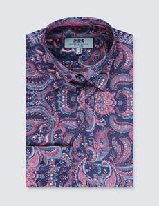 Bluse – Slim Fit – Baumwollstretch – navy-rosa Paisley