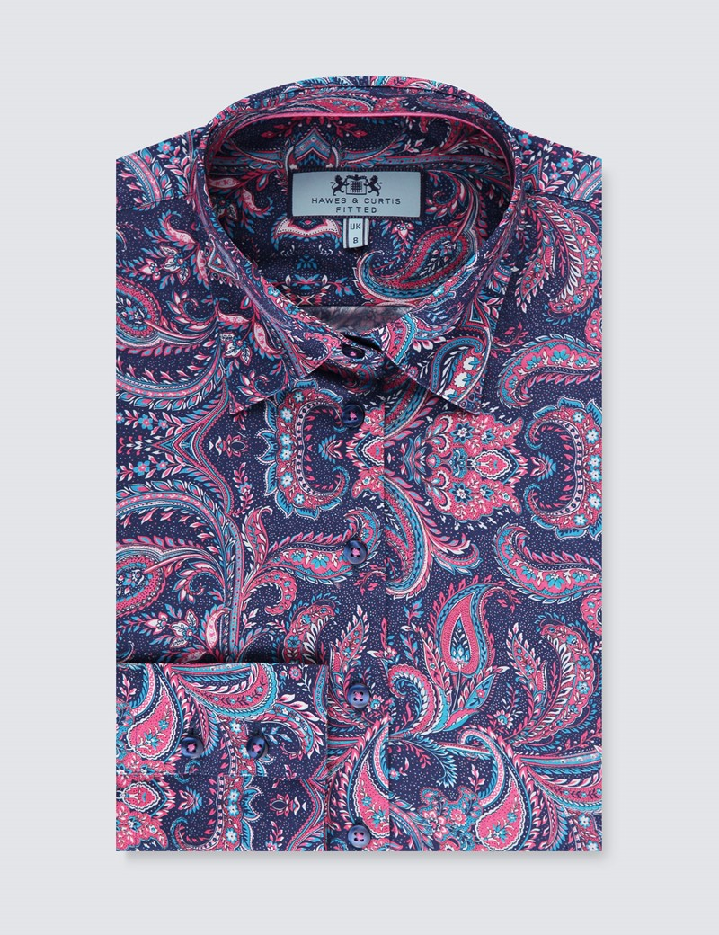 Women's Navy & Pink Paisley Fitted Shirt - Single Cuff