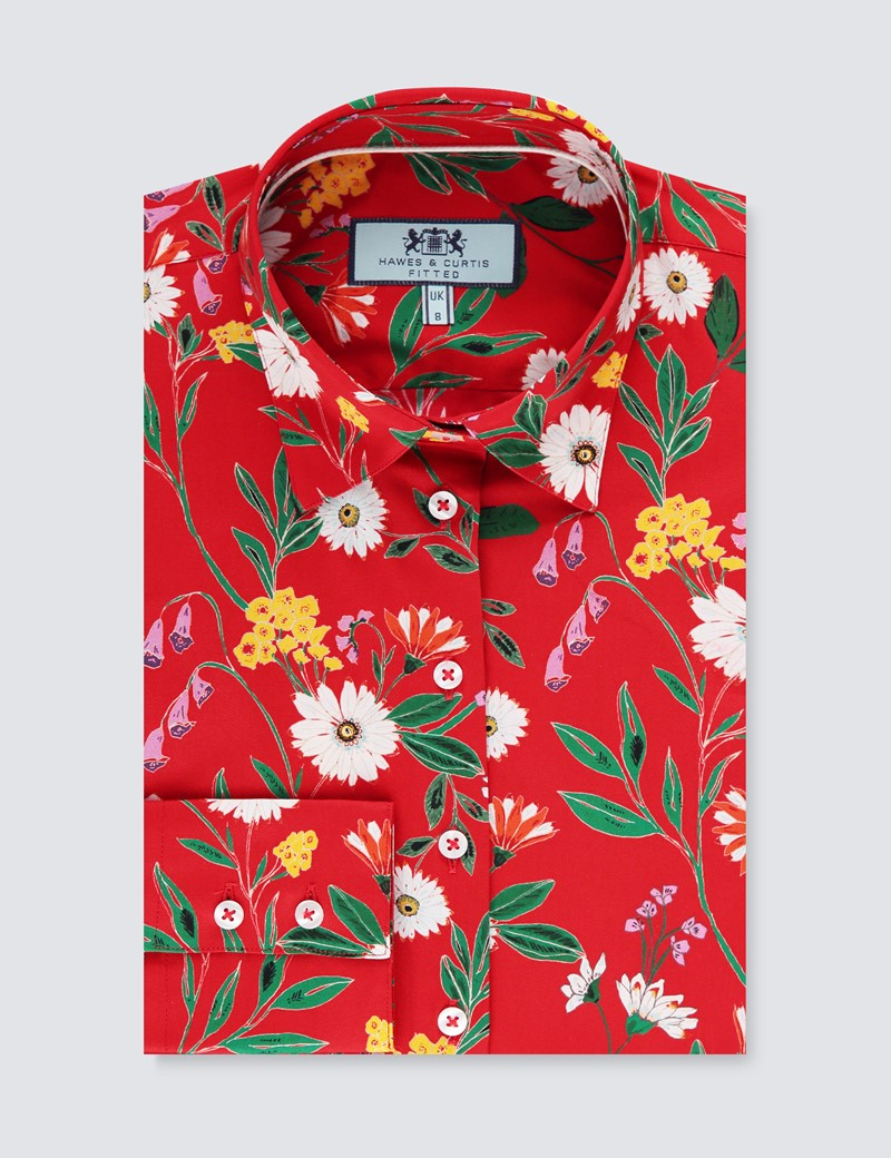 Women's Red & Green Daisy Floral Fitted Shirt - Single Cuff