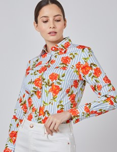 Women's White & Red Chain Rose Floral Fitted Shirt - Single Cuff