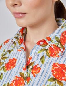 Bluse – Slim Fit – Baumwollstretch – weiß & rot Rosen & Ketten