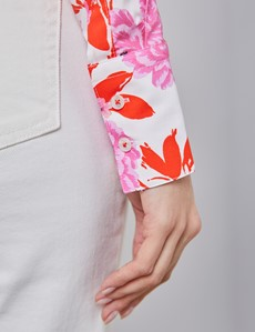Women's White & Pink Tropical Roses Print Fitted Shirt - Single Cuff