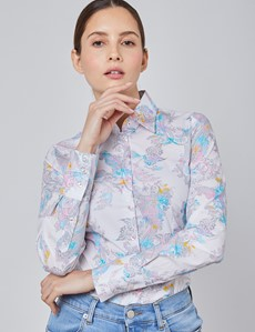 Women's White & Pink Harper Paisley Fitted Shirt - Single Cuff