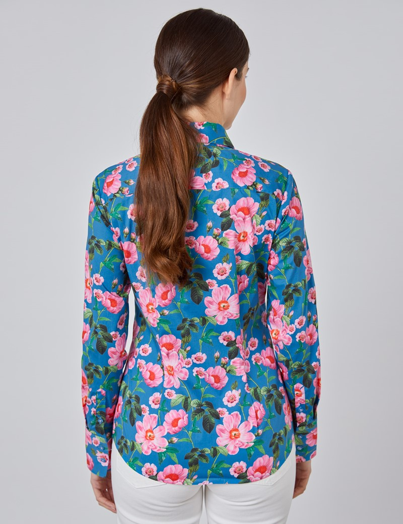 Women's Blue & Pink Spring Bloom Floral Fitted Shirt - Single Cuff