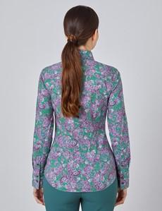 Bluse – Slim Fit – Baumwollstretch – grün-lila Paisley
