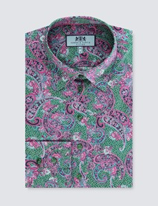 Women's Green & Pink Paisley Fitted Shirt - Single Cuff