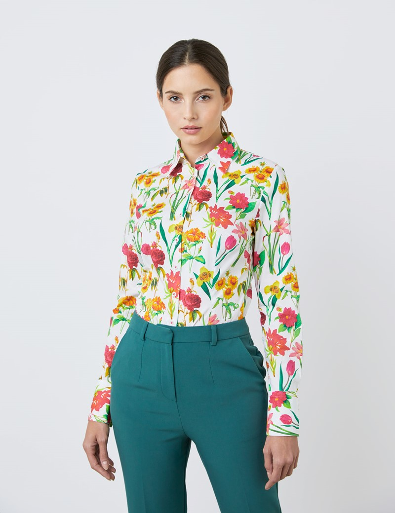 Women's White & Green Long Flowers Fitted Shirt - Single Cuff