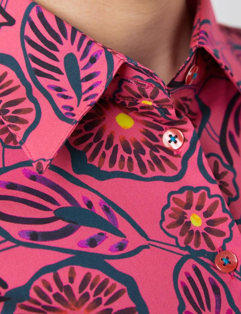 Bluse – Slim Fit – Baumwollstretch – weiß mit floralem Dessin