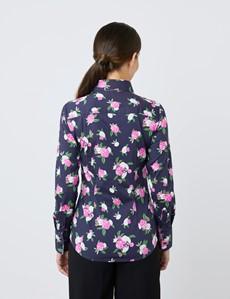 Bluse – Slim Fit – Baumwollstretch – navy rosa Nelken
