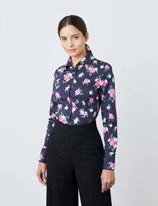 Women's Navy & Pink Carnation Flower Print Fitted Shirt - Single Cuff