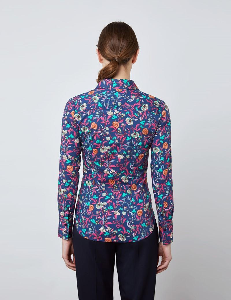 Bluse – Slim Fit – Baumwollstretch – navy florales Muster