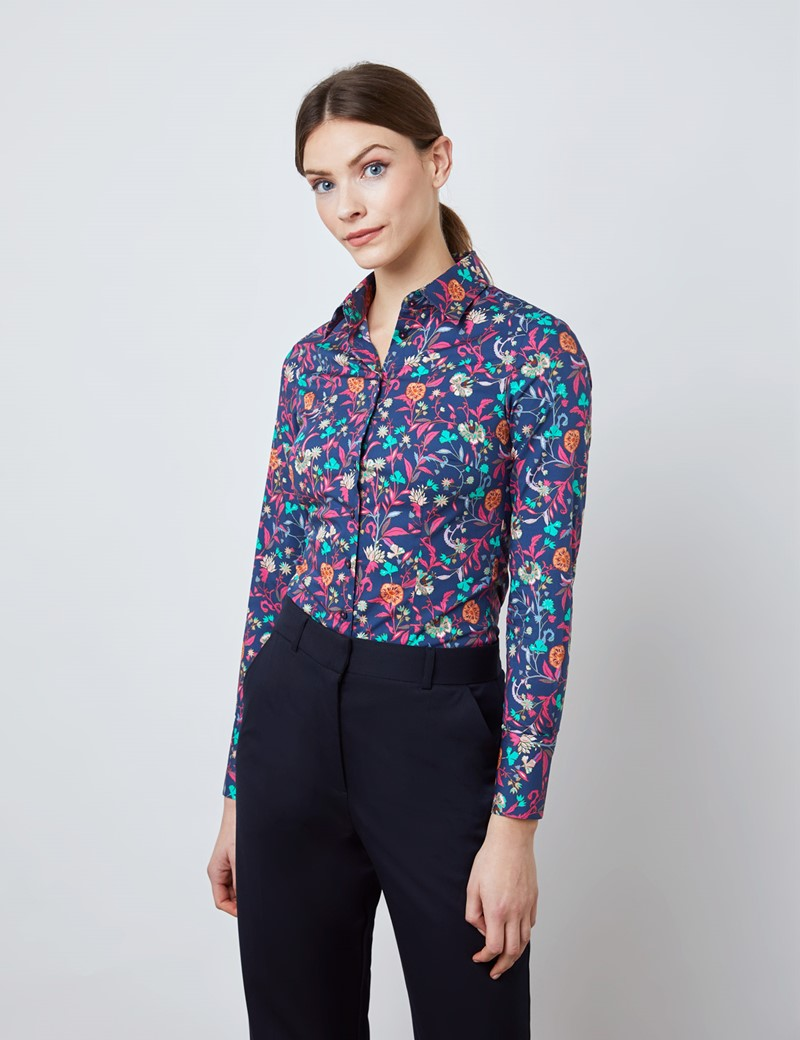 Women's Navy & Pink Floral Print Fitted Shirt - Single Cuff