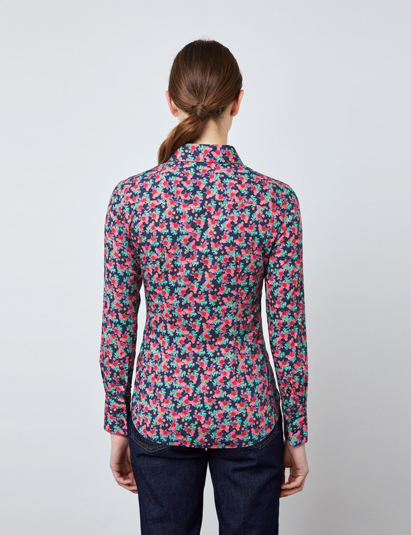 Bluse – Regular Fit – Baumwollstretch – navy pink Blumen