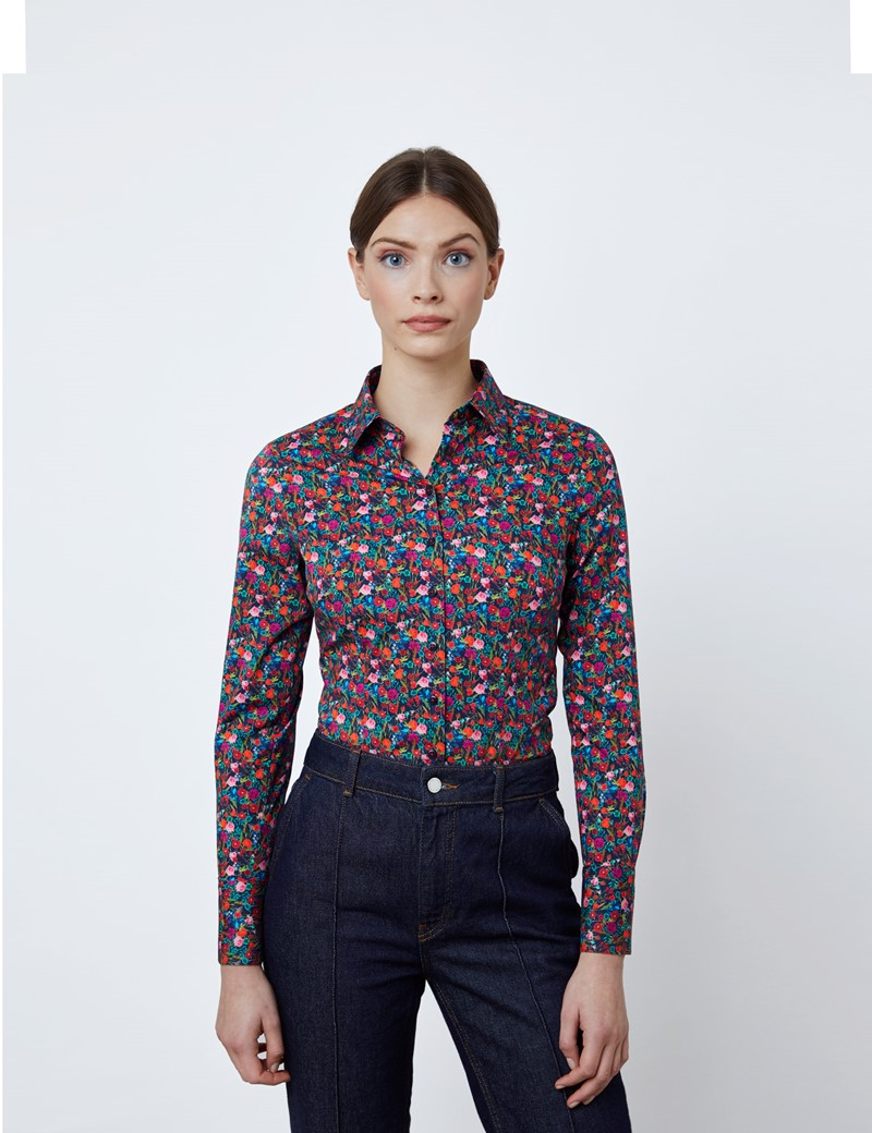 Women's Navy & Orange Autumn Flowers Fitted Shirt - Single Cuff