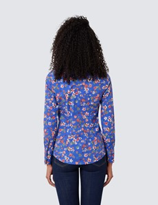 Women's Blue & Red Floral Fitted Cotton Stretch Shirt