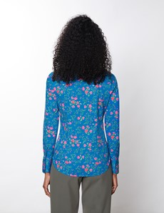 Women's Blue & Fuchsia Floral Fitted Cotton Stretch Shirt