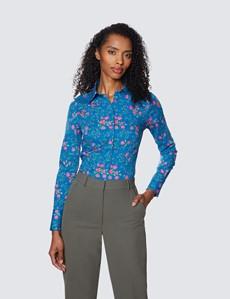 Bluse – Slim Fit – Baumwollstretch – blau pink Blumen