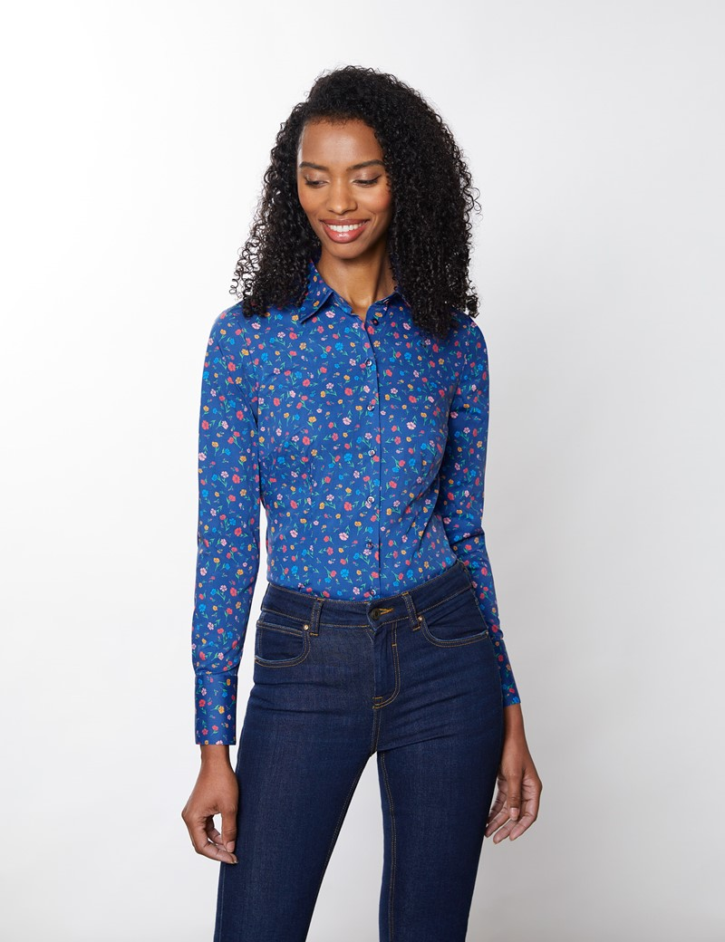Women's Blue & Yellow Floral Fitted Cotton Stretch Shirt
