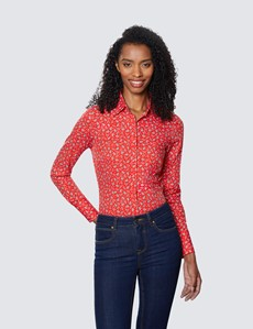 Women's Red & White Paisley Leaves Fitted Cotton Stretch Shirt
