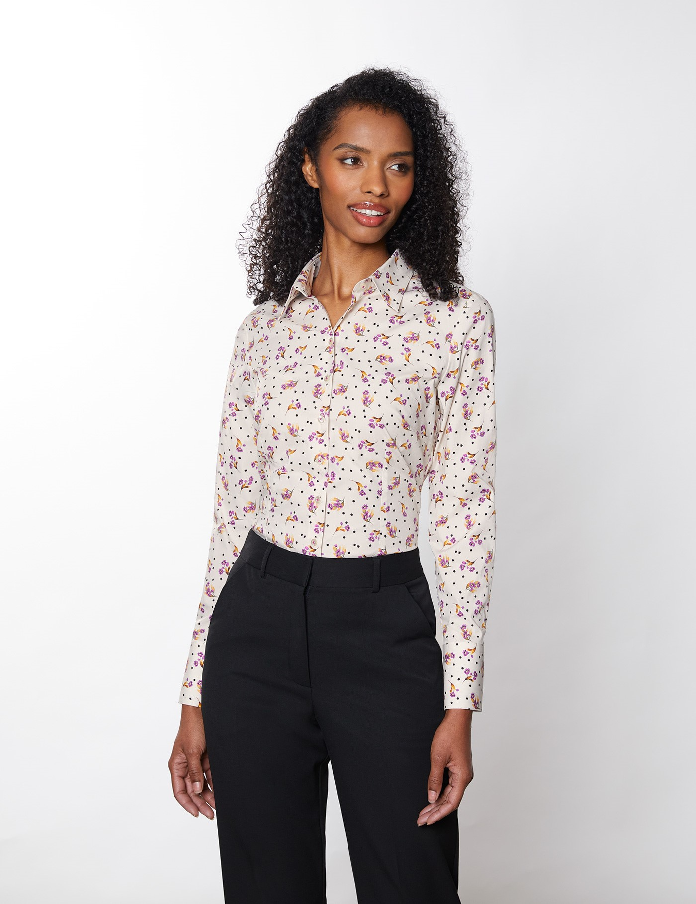 Women's Floral Fitted Cotton Stretch Shirt In White/Purple   Size 8   Hawes & Curtis