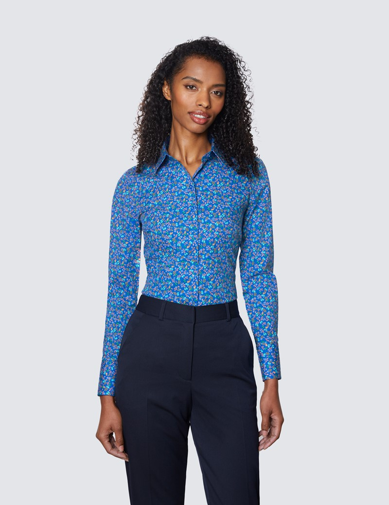 Women's Blue & Pink Fruits and Leaves Print Fitted Cotton Stretch Shirt
