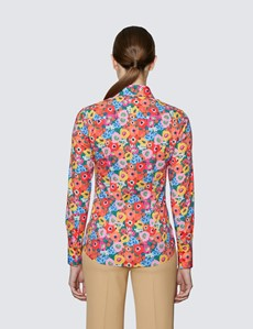 Women's Red & Pink Floral Print Fitted Cotton Stretch Shirt