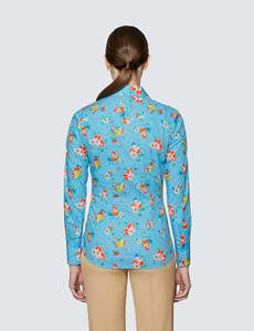 Women's Blue & Yellow Floral Print Fitted Cotton Stretch Shirt