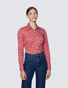 Women's Red & Blue Floral Print Fitted Cotton Stretch Shirt