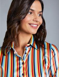 Women's Navy & Orange Circus Stripe Fitted Satin Shirt - Single Cuff