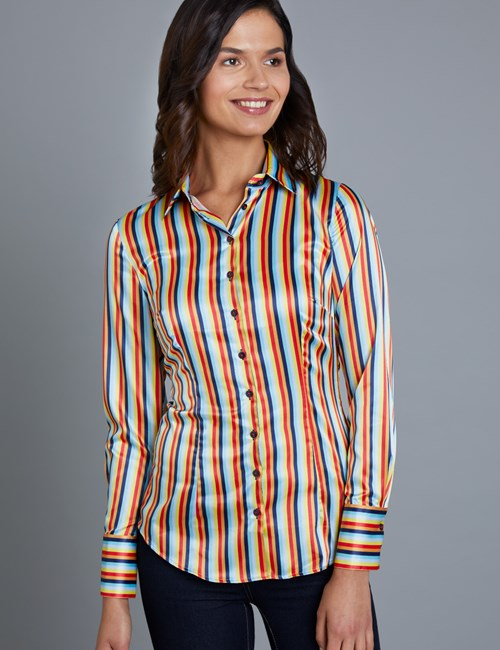 Women's Navy & Orange Circus Stripe Fitted Satin Shirt - Single Cuff