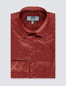 Women's Paprika Animal Print Fitted Satin Shirt - Single Cuff