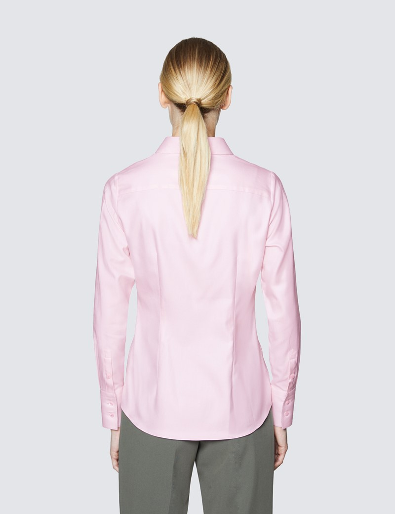 Women's Pink Fitted Shirt with Contrast Detail