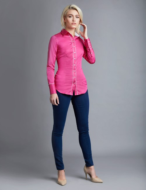 Women's Fuchsia & White Fitted Shirt With Contrast Detail - Single Cuff