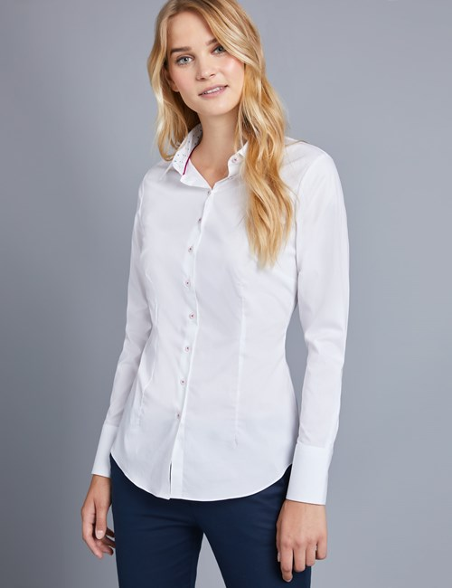 Women's White Fitted Shirt with Contrast Detail - Single Cuff