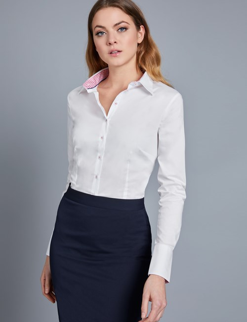 Women's White Fitted Shirt with Stripe Contrast Detail - Single Cuff