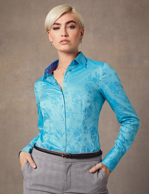 Women's Marine Blue Jacquard Floral Fitted Shirt - Single Cuff
