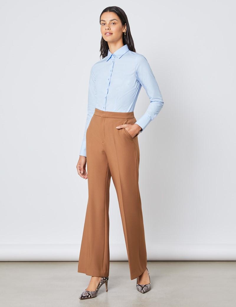 Bluse – Slim Fit – Baumwolle – Popeline hellblau
