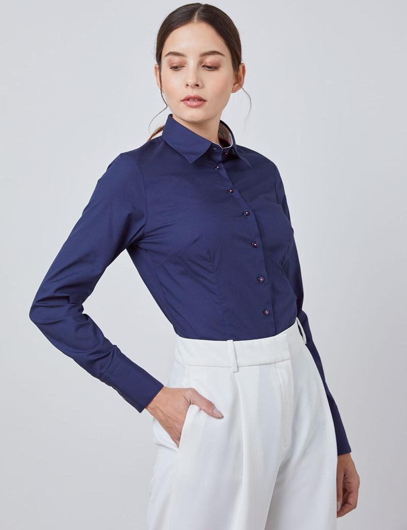 Bluse – Slim Fit – Popeline – navy mit floralen Kontrasten