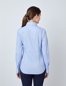 Women's Blue Fitted Shirt - Single Cuff