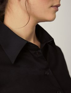Women's Black Fitted Stretch Shirt - Single Cuff