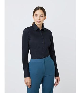 Women's Black Fitted Stretch Shirt - Single Cuff