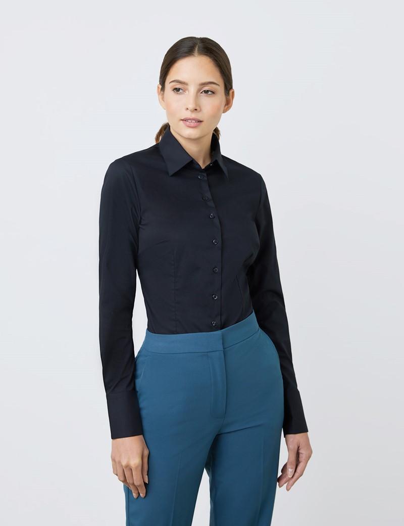 Bluse – Slim Fit – Baumwollstretch – Tiefschwarz