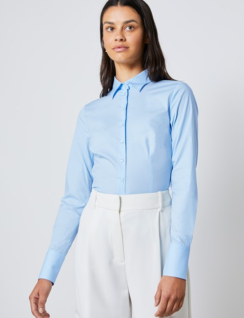 Women's Ice Blue Cotton Fitted Stretch Shirt - Single Cuff