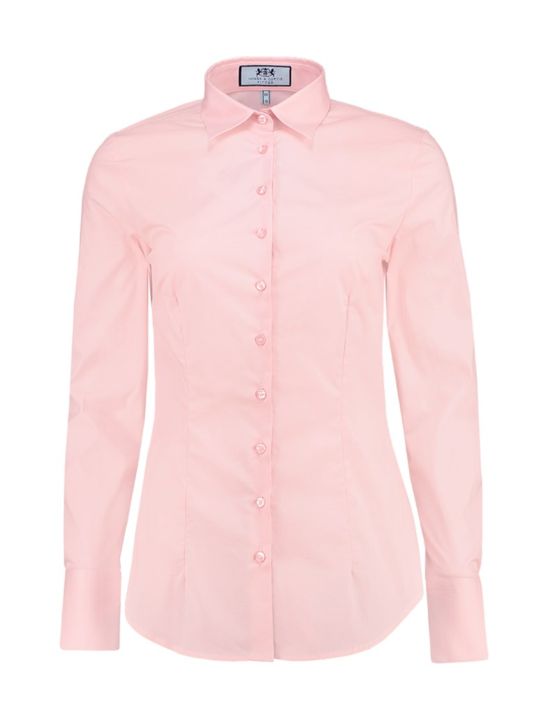Women's Rose Pink Fitted Cotton Stretch Shirt - Single Cuff
