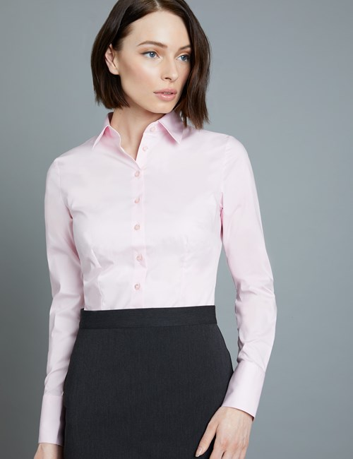 Women's Pink Fitted Cotton Stretch Shirt - Single Cuff