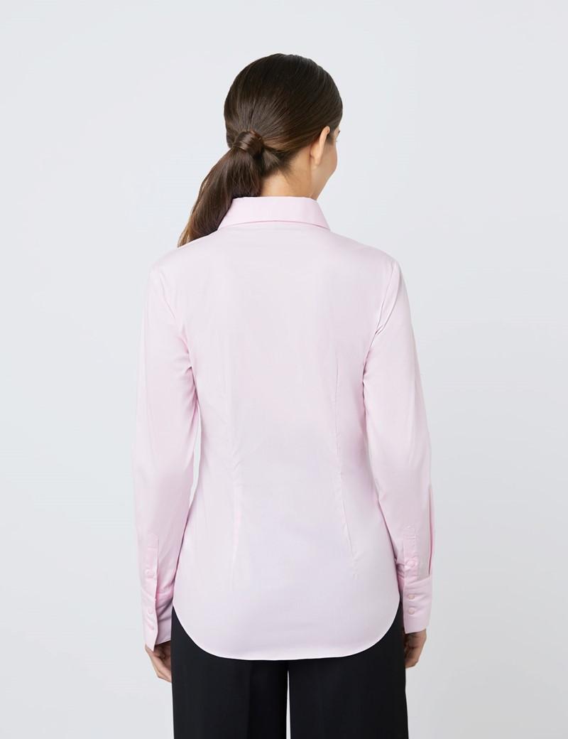 Bluse – Slim Fit – Baumwollstretch – Pink