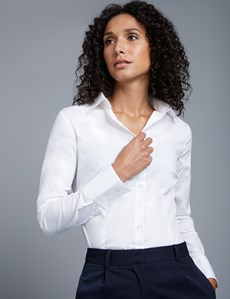 Women's White Fitted Cotton Stretch Shirt - Single Cuff